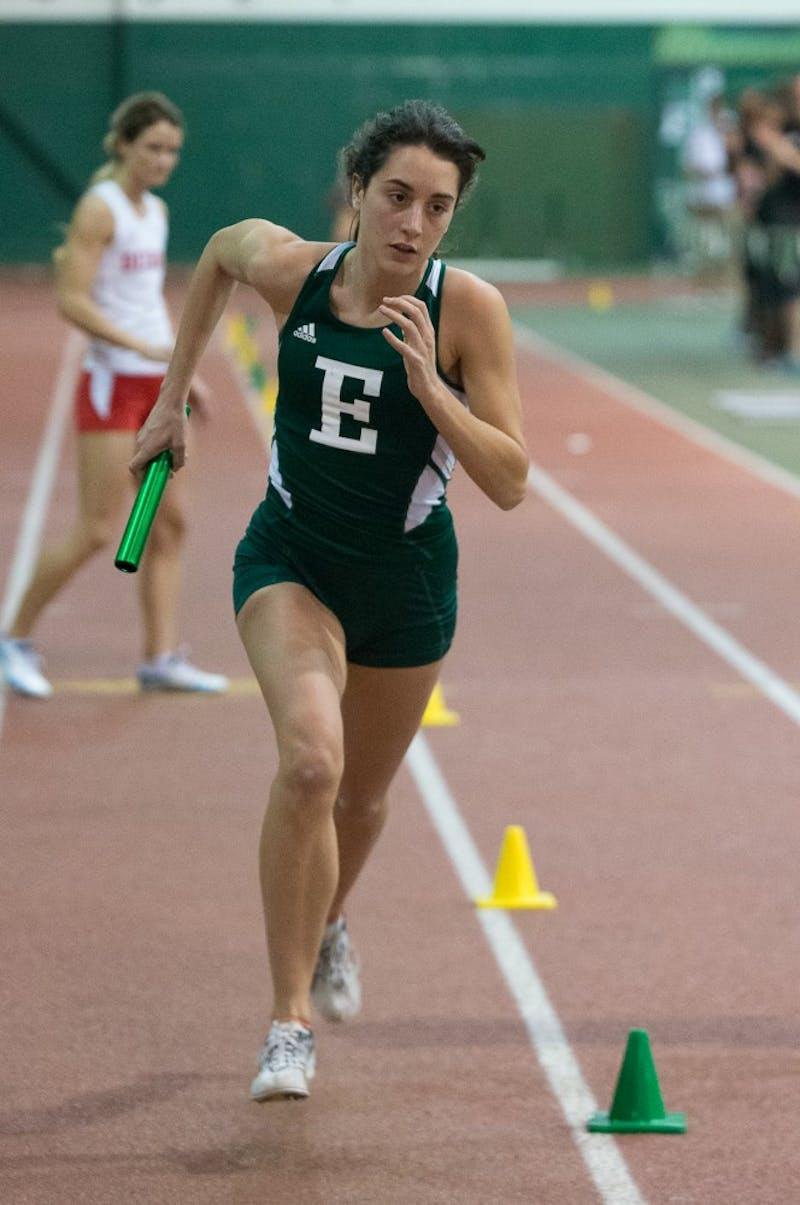 Eastern Michigan distance runner Marina Manjon-Rivadulla takes over for her leg of the 1600m during the EMU Triangular on 10 January at Bowen Field House.