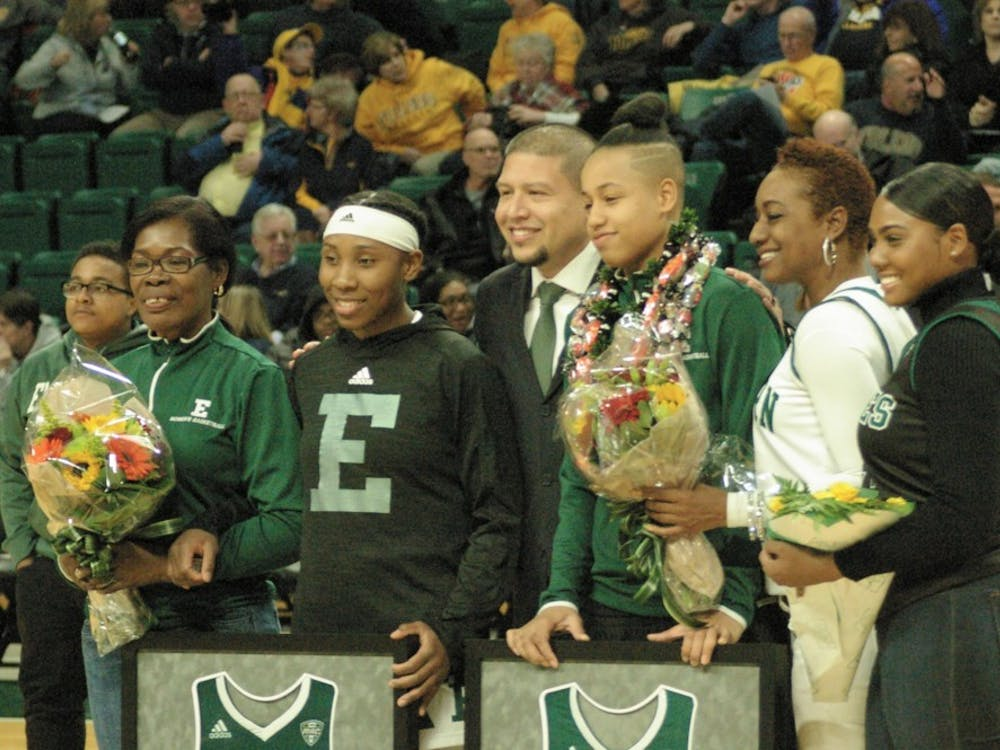 Danielle Minott and Emoni Jackson are honored before tip off on March 6 at the Convocation Center.