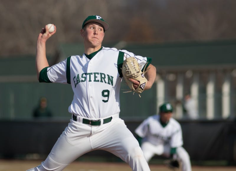 Freshman Brent Mattson delivers a pitch against Wayne State on March 25 2015.