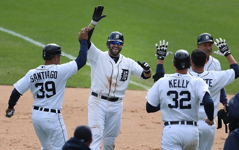 The Detroit Tigers' Alex Avila celebrates his game-winning RBI during ninth-inning action against the Kansas City Royals at Comerica Park in Detroit, Michigan, on Thursday, September 27, 2012. The Tigers rallied to edge the Royals, 5-4. (Diane Weiss/Detroit Free Press/MCT)