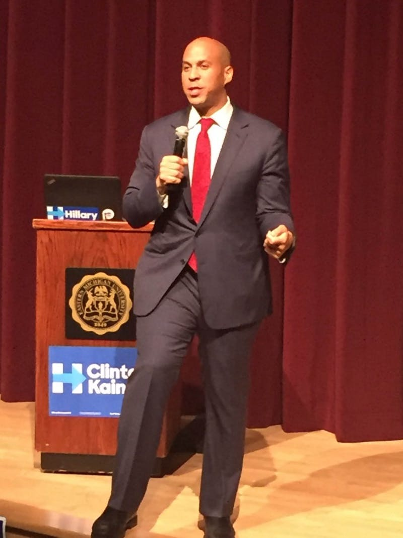 Sen. Cory Booker addressing the crowd during the Hillary Clintoncampaign at EMU on Monday,Oct. 10