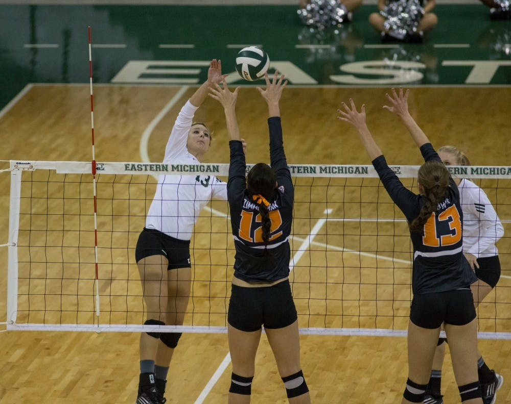 Oregon State defeats EMU in women's volleyball