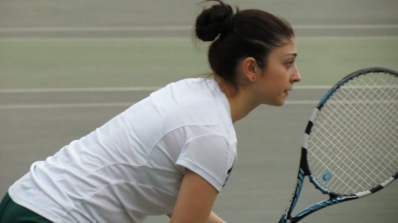EMU's women's tennis team faces Toledo on April 3, 2013 in Ypsilanti.