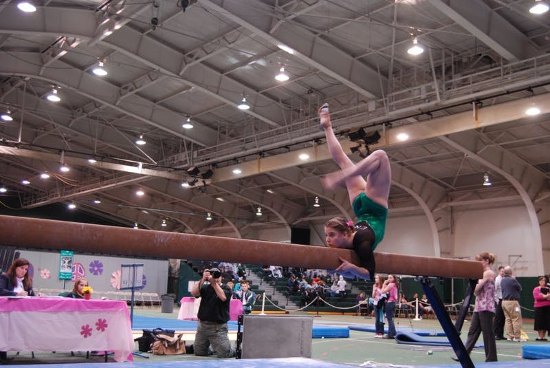 "EMU took individual titles in all four events at the ""Pink Meet"" on Saturday in Bowen Field House. The meet raised awareness about breast cancer and was a great success for the team as a whole."
