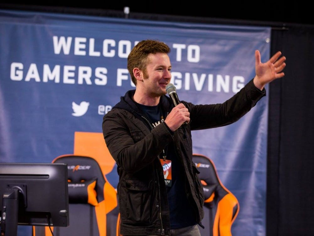 Founder of Gamers Outreach, Zach Wygal, speaks at 2017 Gamers For Giving, located at Eastern Michigan University Convocation Center.