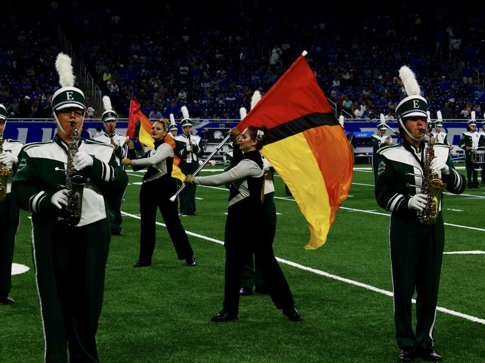Eastern Michigan's marching band performs at Ford Field on Sunday, Sept. 15.
