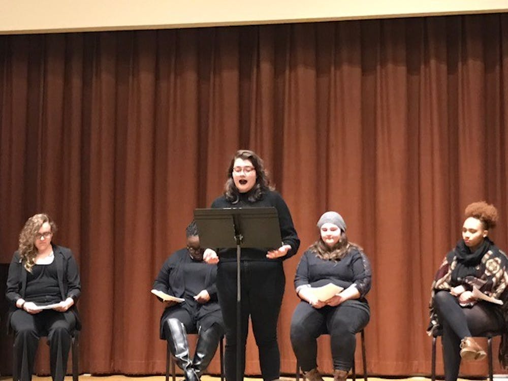 """""""Our Voices,"""" a show put on by the Women's Resource Centerto give women aplatform, Feb 3."""
