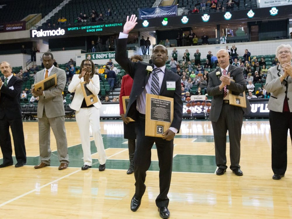 Former EMU basketball player Earl Boykins was one of six honored during halftime.