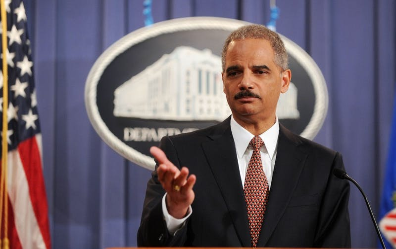 U.S. Attorney General Eric Holder announces that the self-described mastermind of the 9/11 attacks, Khalid Shaikh Mohammad, and four other Guantanamo detainees accused in the plot will be tried in federal court in New York during a news conference at the Department of Justice November 13, 2009 in Washington, DC. (Olivier Douliery/Abaca Press/MCT)