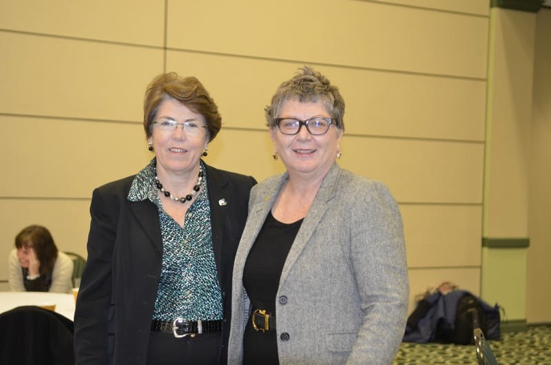 EMU President Susan Martin with Kim Schatzel, the university's new executive vice president of the Division of Academic and Student Affairs.