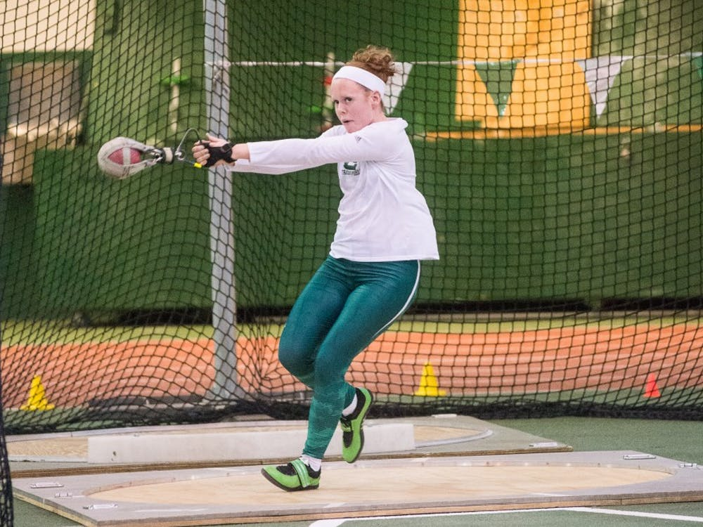 Megan Pendleton competes in the weight throw on Jan. 9, 2015 at Bowen Field House.