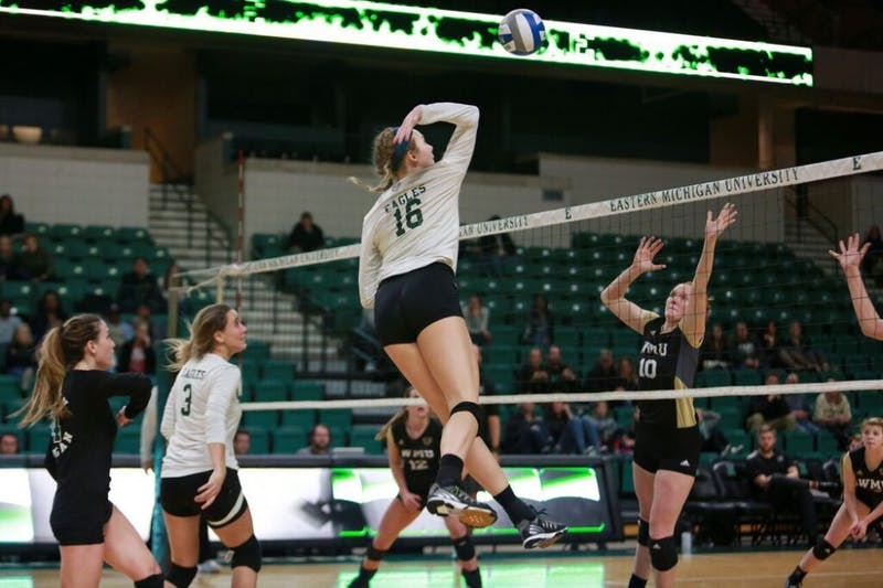 Eastern Michigan's women's volleyball team took to the court Nov. 3 at the Convocation Center for a matchup against in-state rival Western Michigan. Despite coming into the match with a worse record compared to the Broncos, Eastern took the match in a 3-0 sweep. The victory marks the 12th victory on the season for the Eagles and the fourth victory in-conference.