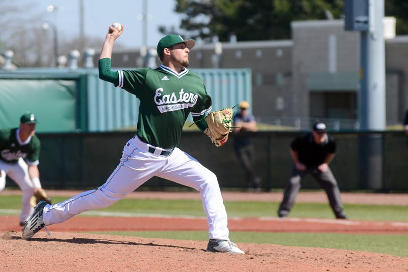 Eastern Michigan pitcher Augie Gallardo pitches during the Eagles' game against Kent State on April 16.
