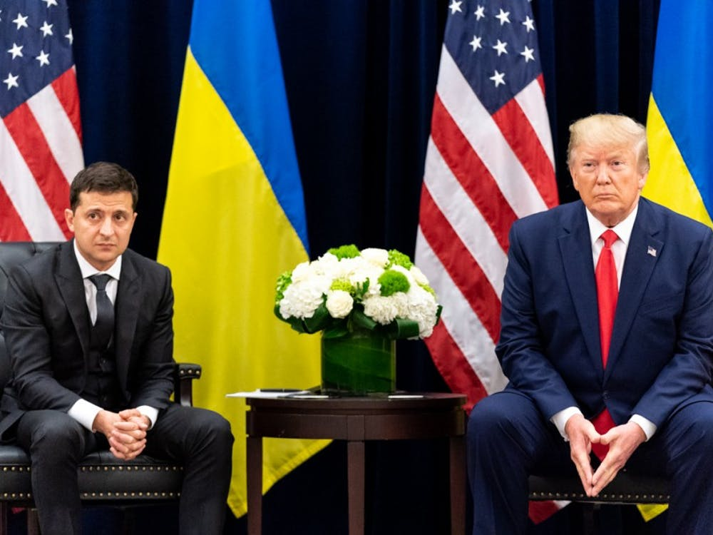 Ukrainian President Volodymyr Zelensky and United States President Donald Trump face questions from the press during a meeting on Sept. 25, 2019. Photo courtesy of The White House.