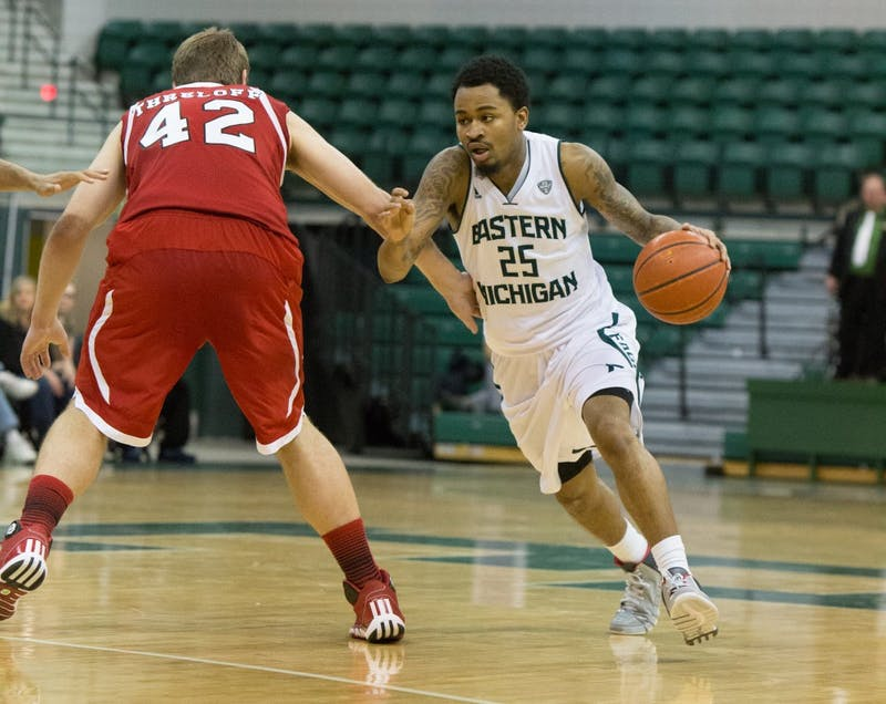 Eastern Michigan guard Darell Combs (25) scored 11 points in the Eagles 56-52 win over Northern Illinois Saturday afternoon.