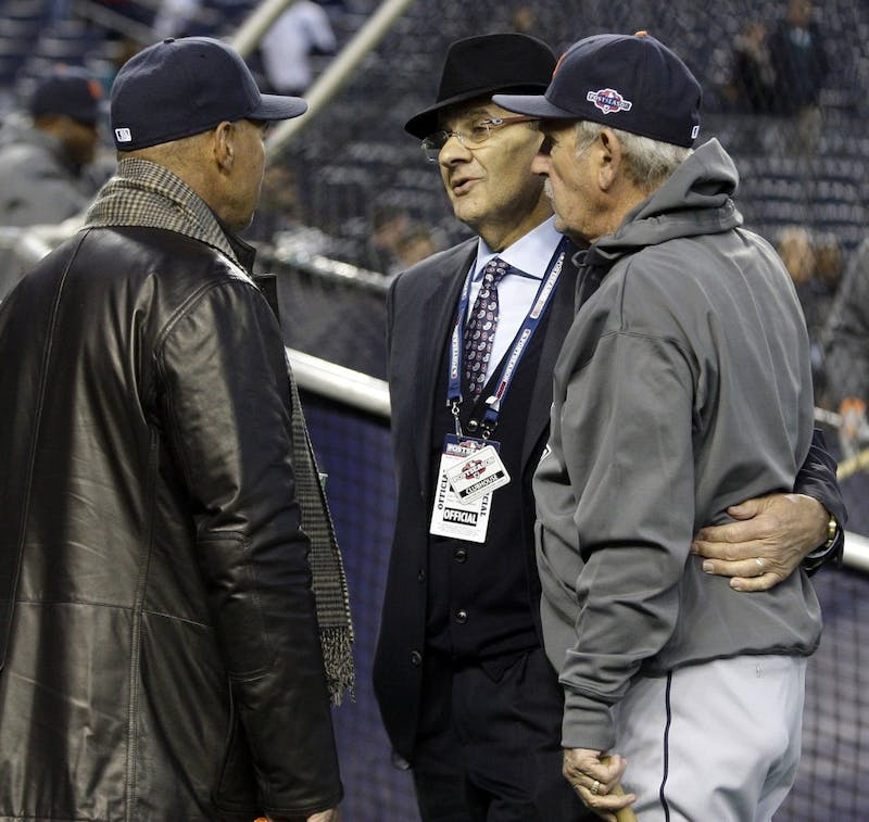 Former New York Yankee Reggie Jackson, left, former manager Joe Torre and Detroit Tigers manager Jim Leland talk on the field during batting practice prior to the start of Game 1 of the American League Championship Series at Yankee Stadium in the Bronx, New York, Saturday, October 13, 2012. (Julian H. Gonzalez/Detroit Free Press/MCT)