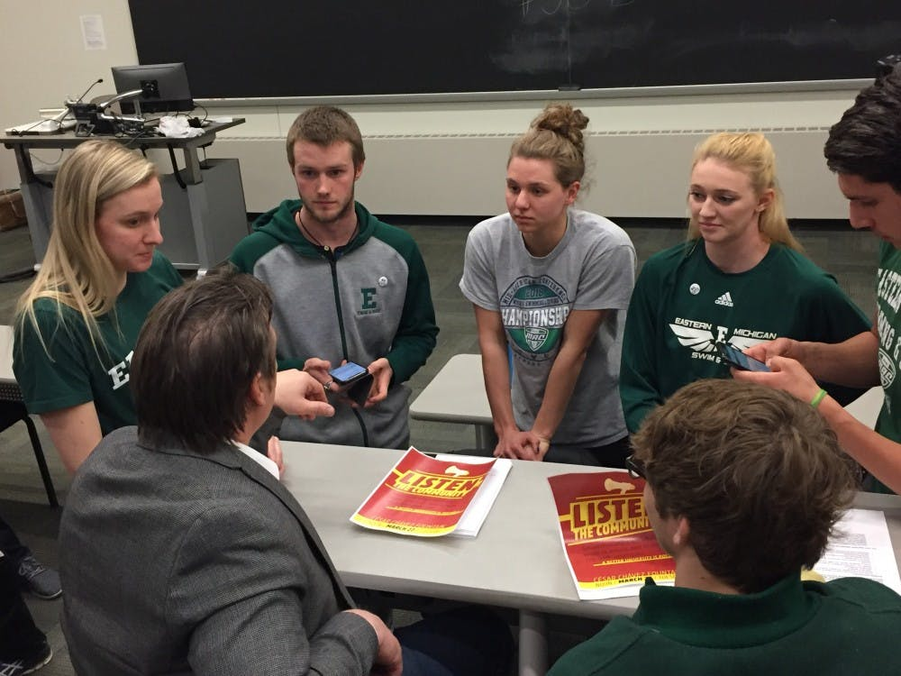 EMU athletes and Robert Carpenter discuss ways to address budget issues at the university.