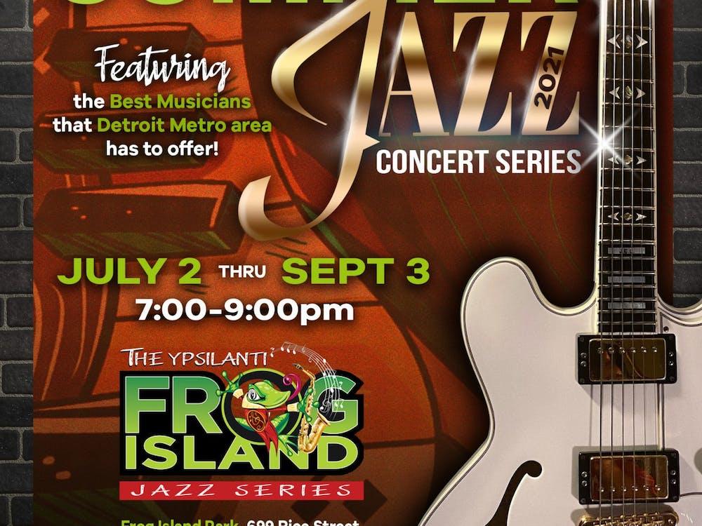 The Ypsilanti Frog Island Jazz series informational flyer. (Photo courtesy of John E. Lawrence. Artwork by RJ's Printing)
