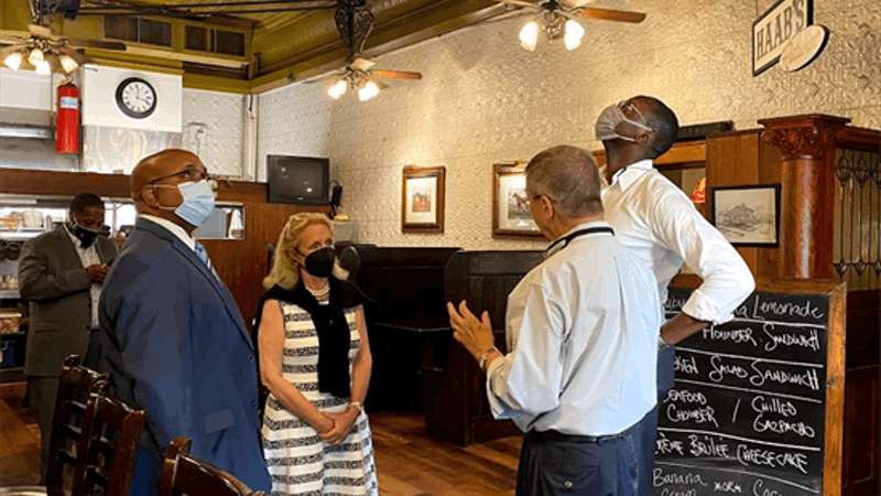Rep. Dingell and Lt. Gov. Gilchrist visit Haab's Restaurant in Ypsilanti, owned by Mike Kabat. (Photos courtesy of Congresswoman Debbie Dingell)
