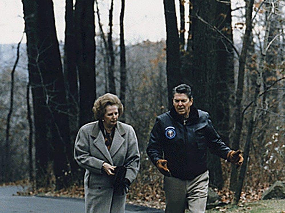 President Reagan walks with Prime Minister Margaret Thatcher at Camp David, Nov. 6, 1986. (REAGAN PRESIDENTIAL LIBRARY/MCT)
