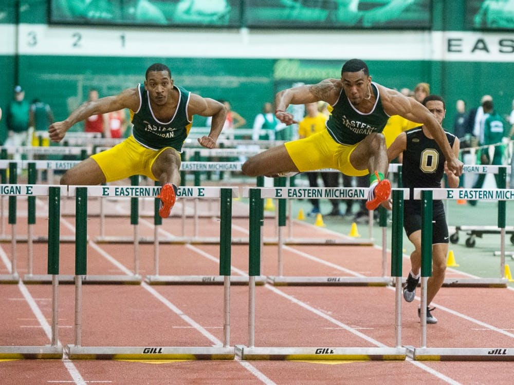 Bryce Lindsey (left) and Solomon Ijah (right) race on Jan. 9, 2015.