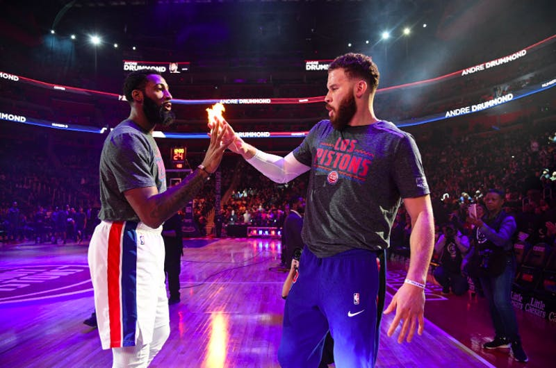 Blake Griffin and Andre Drummond at Little Caesars Arena. @DetroitPistons