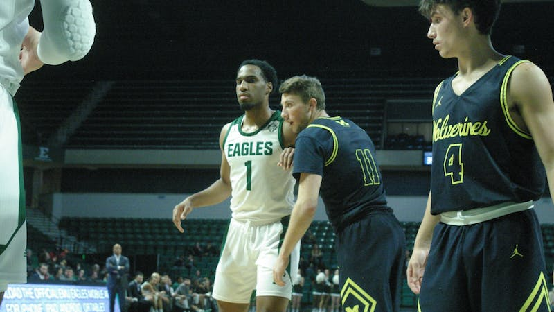 EMU guard Chris Barnes sets up for an inbound play at the Convocation Center on Nov. 14.