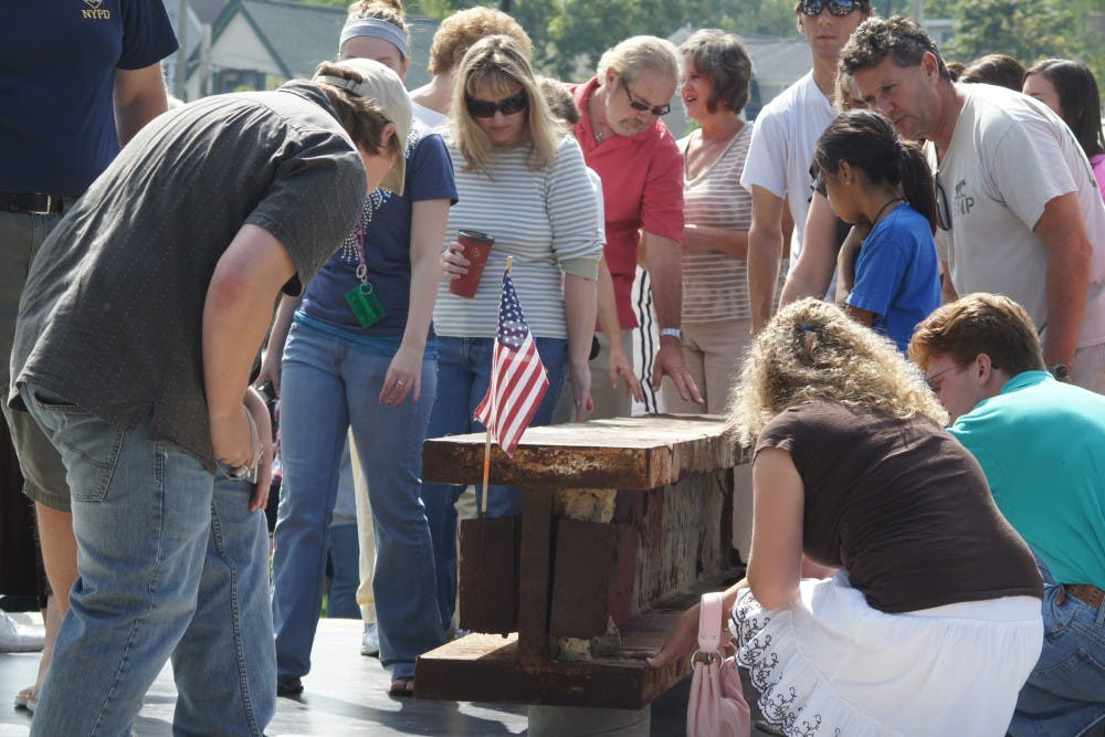 9/11 memorial unveiled in crowded Pease Park