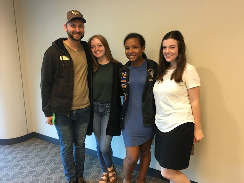 (L to R) Senator Kirk, Senator Anna Newmyer, Director of Student Services Allanah Morales and Senator Lily Pellerito held their first committee meeting on Tuesday, Sept. 17.