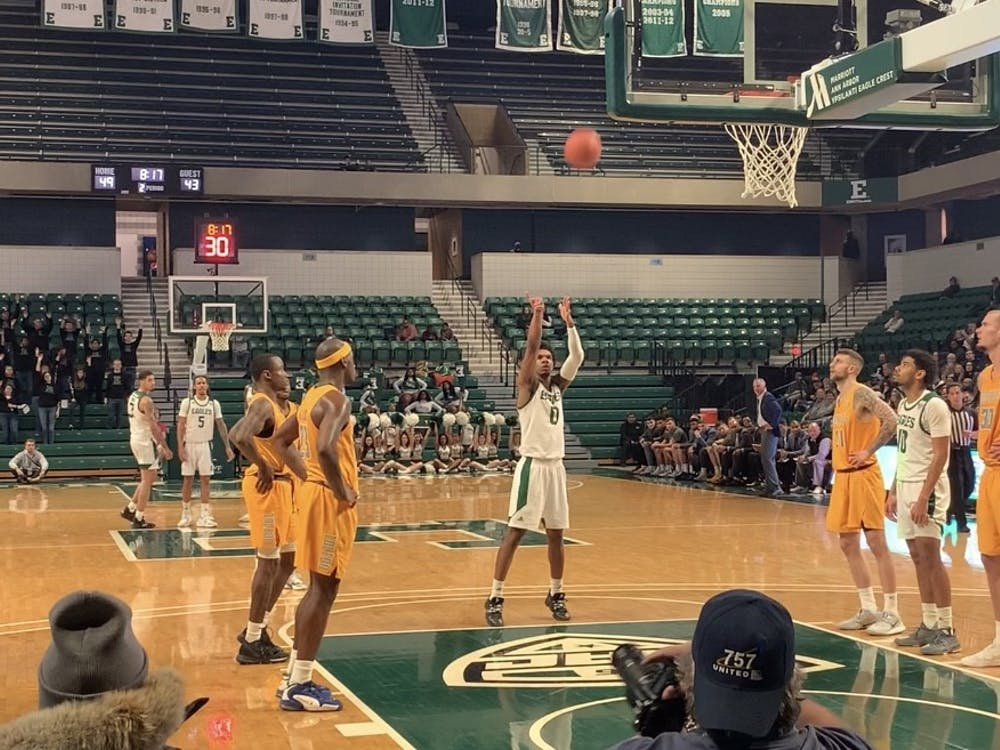 Yeikson Montero shoots free throw versus Toledo at Convocation Center on Feb. 1, 2020.