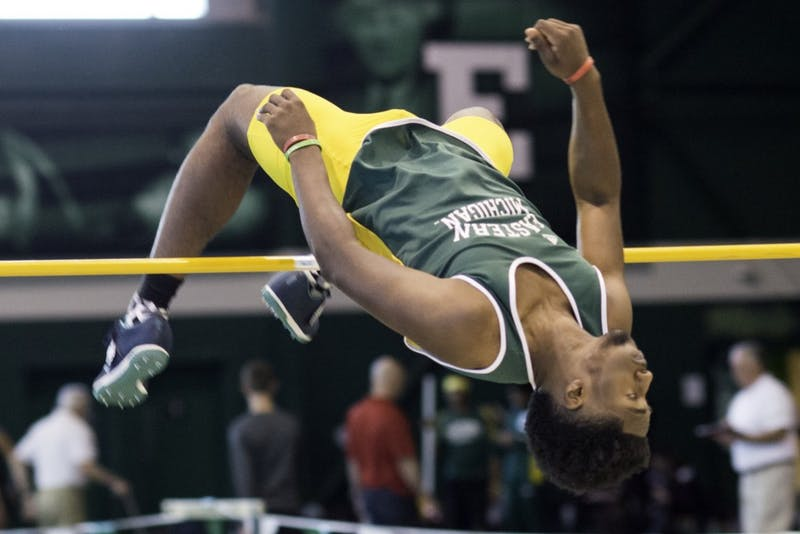 Cameron Hart competes in high jump against Central Michigan and Oakland on Jan. 23, 2016.