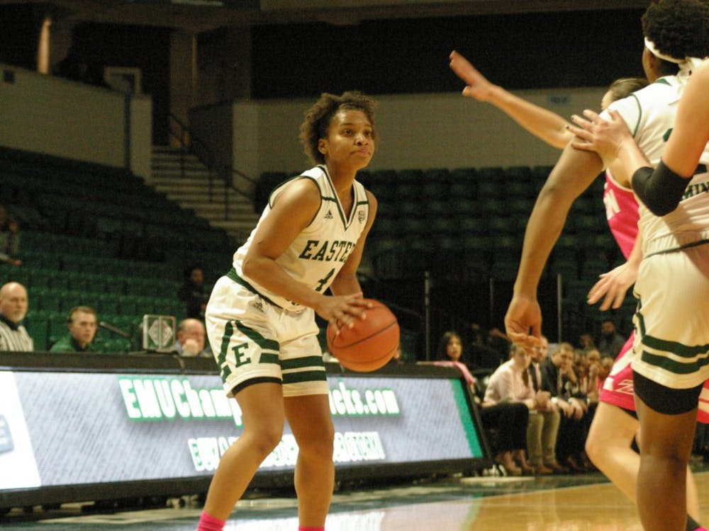 Courtnie Lewis handles the ball against Akron on Feb. 20 at the Convocation Center.