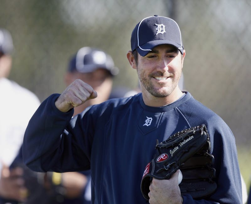 Detroit Tigers pitcher Justin Verlander smiles during the team's first official workout for pitchers and catchers at spring training in Lakeland, Florida, Monday, February 14, 2011. (Julian H. Gonzalez/Detroit Free Press/MCT)
