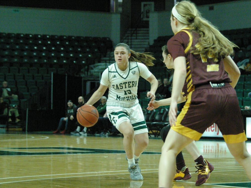 Jenna Annecchiarico dribbles at the top of the key at the Convocation Center on Jan. 22.
