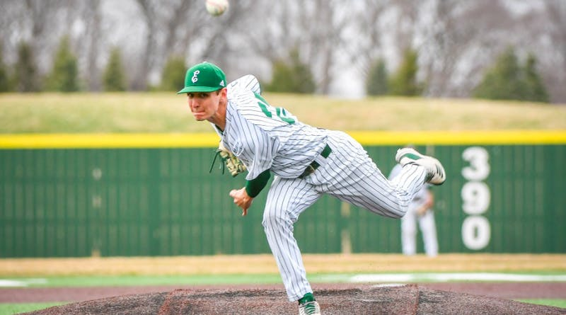 Scott Granzotto pitches on April 5 at Oestrike Stadium. @EMU_Baseball