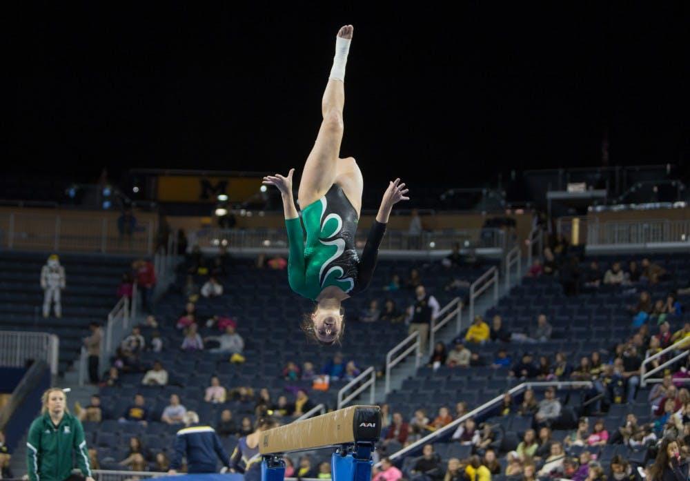EMU's women's gymnastics team holds exhibition against University of Michigan