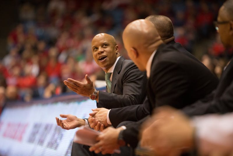 EMU coach Rob Murphy reacts after foul call on Dec. 6 in Dayton, Ohio.