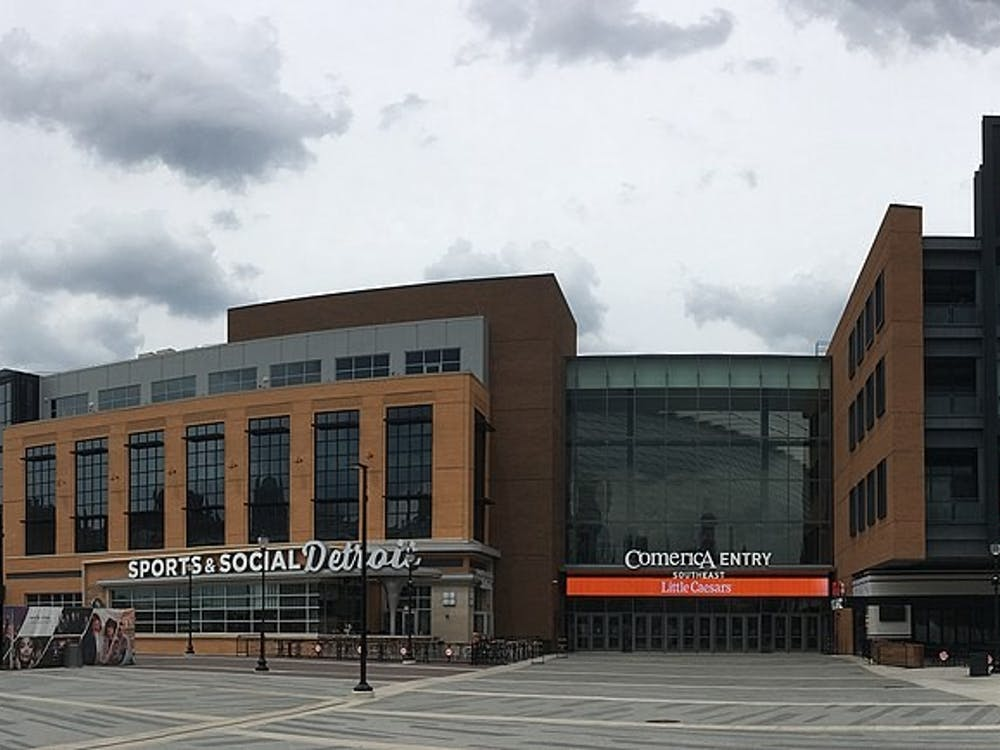 Panorama of Little Caesars Arena in Detroit. Photo by Adam Bishop on Wikimedia Commons.