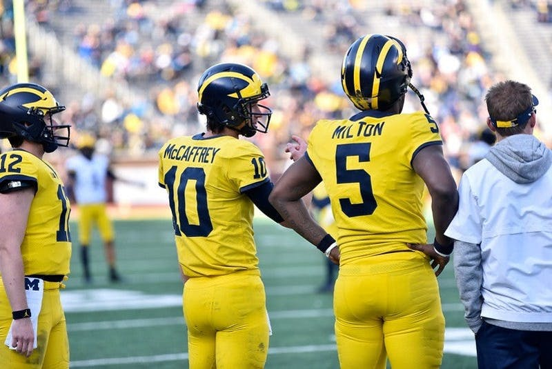 Two of Michigan's up-and-coming quarterbacks. Photo by MGoBlog on Flickr
