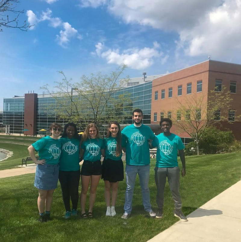 Optimize Core Team: (From Left to Right) Chloe Spencer, Tiarra Stallings, Molly Linhares, Kristen Klochko, Mohammad Aggour, Mohamed Said. Photo Courtesy of Morgan Mark.