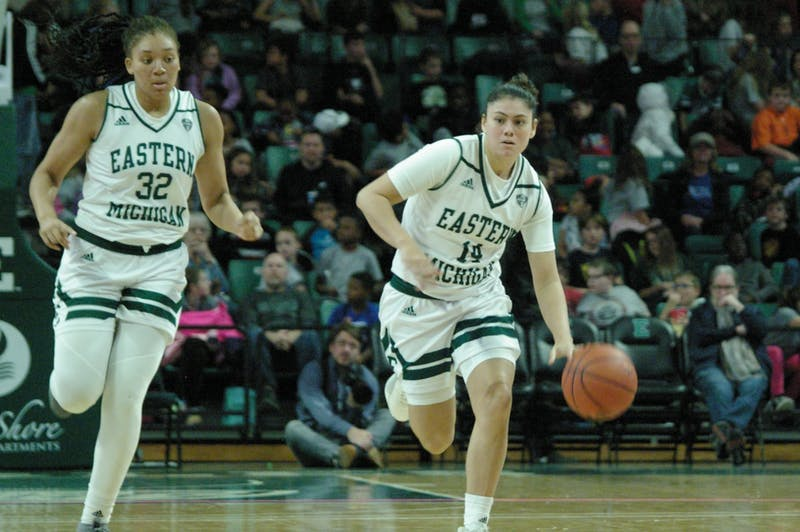 EMU guard Natalia Pineda brings the ball past half court at the Convocation Center on Nov. 8.