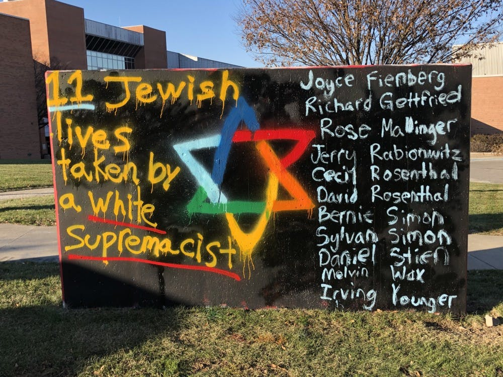 "The opposing side of the freedom wall reads ""Together Against Semitism"" after being tampered with. The original message, written by Hillel at EMU, condemned antisemitism."