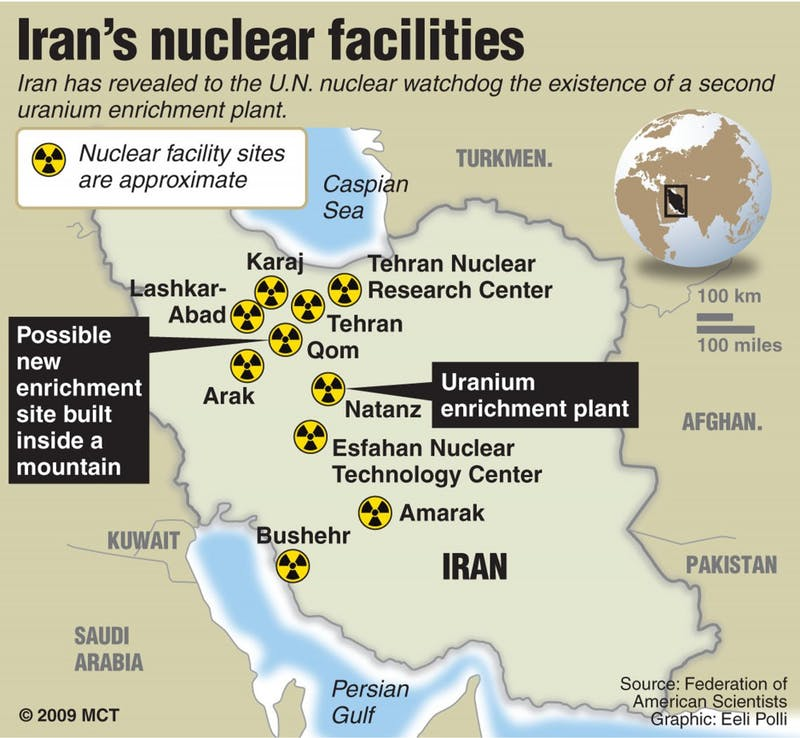 Map showing Iran's nuclear facility sites, also locating Qom; Iran has revealed to the U.N. nuclear watchdog the existence of a second uranium enrichment plant, which is reportedly located near the city of Qom. MCT 2009<p>13000000; krtscience science; krtscitech; krtworld world; SCI; TEC; krt; 2009; krt2009; mctgraphic; 13001002; 13001004; 13009000; applied science; chemistry; particle physics; krtworldnews; krtmeast middle east mideast; iran; IRN; krtasia asia; bushehr; facility; iranian; map; nuclear; nuclear plant; power; site; test; krt mct e krtaarhus mctaarhus; polli