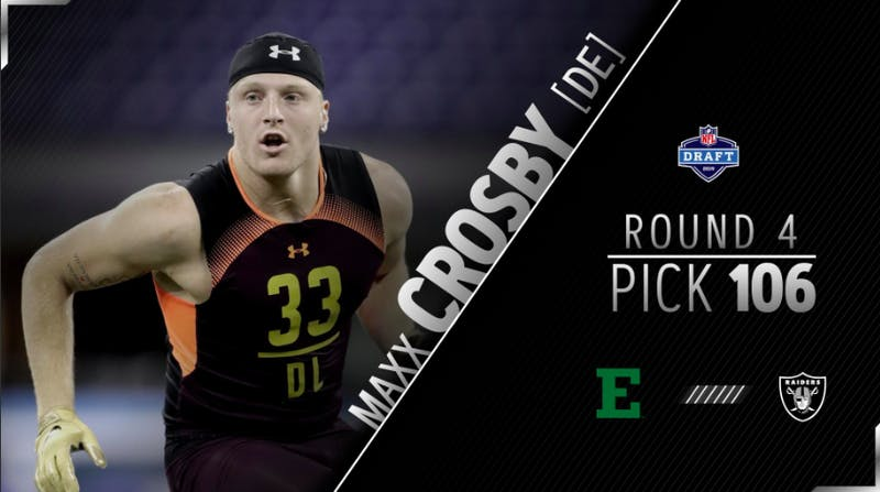 Maxx Crosby drafted 106th overall in the NFL Draft by the Oakland Raiders. @Raiders