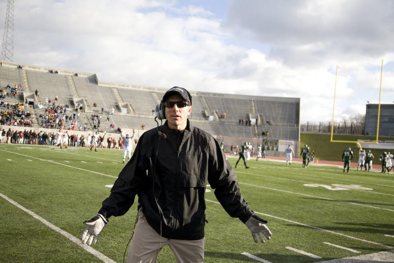 Jeff Genyk posing in his final game at Eastern Michigan. He is now a college football commentator for ESPN360.com