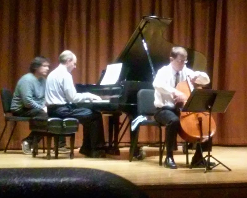 Guest cellist, Benjamin Whitcomb, and his accompanied pianist, Vincent DeVries, performed onTuesday night in Alexander Recital Hall.