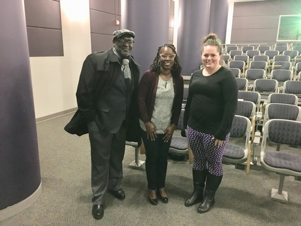 From Left to right: El-Ra Adair Radney, professor of African American Studies, LaShawn Harris, Ph.D., associate professor of history at Michigan State University, and Mckenzie Campbell, graduate student majoring in Women's and Gender Studies.