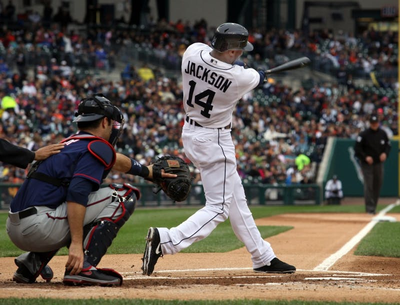 The Detroit Tigers' Austin Jackson leads off the first inning with a home run against the  Minnesota Twins on Saturday, September 22, 2012, at Comerica Park in Detroit, Michigan. (Diane Weiss/Detroit Free Press/MCT)