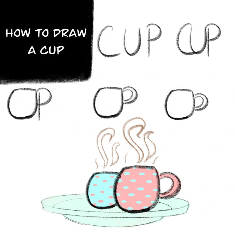 Drawing a cup is as easy as writing it!