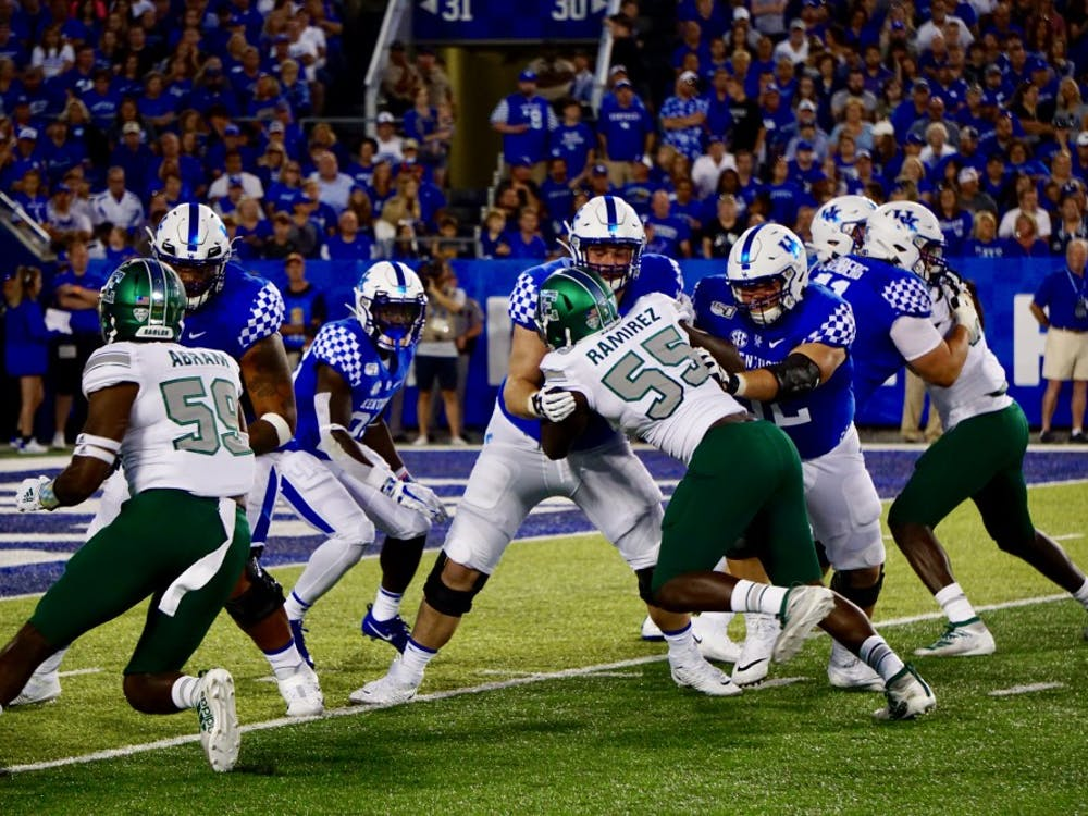 Eagles play defense on Sept. 7, 2019 at Kroger Field in Lexington.